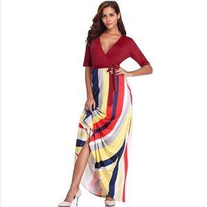 Curvy and Beautiful Stripped Flattering Maxi Dress